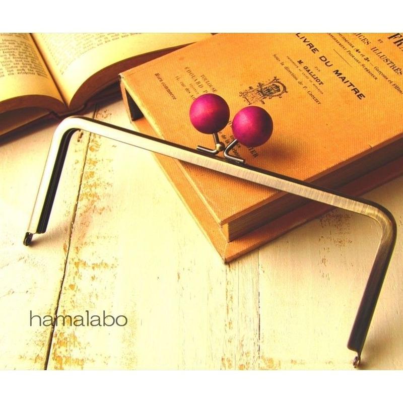 【HA-1523】18cm/角型(ちょっと大きな紫色の木玉×アンティークゴールド)