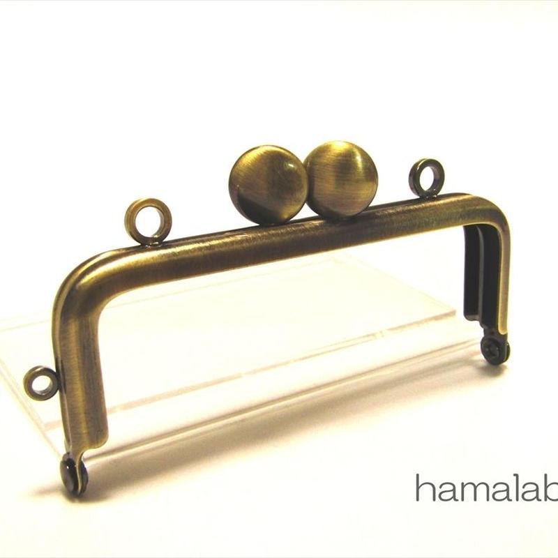 【HA-1518】8.5cm口金/角型(アンティークゴールド)/カン付き-碁石つまみ-