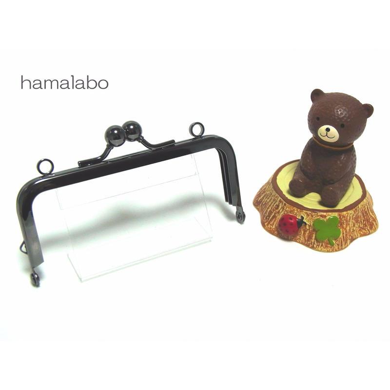 【HA-1404】ミニアメ玉10cm/角型口金(ブラック)・カン付き