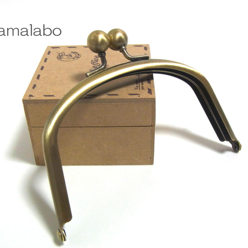【HA-1290】アメ玉口金12cm/くし型(アンティークゴールド)