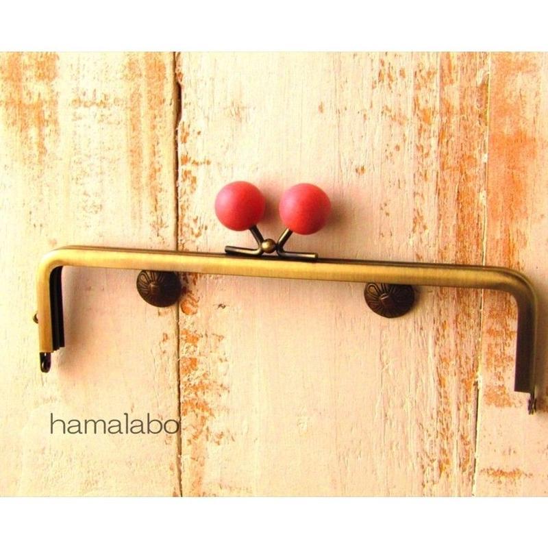 11月2日販売開始!【HA-1484】16.5cm木玉/角型(ピンク色の木玉×アンティークゴールド)