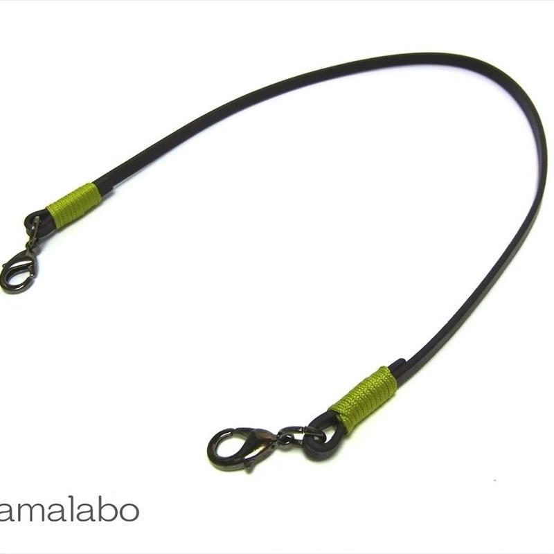 【HA-607】《高級レザー》がま口用の革紐(かわひも)41cm【ブラック金具】