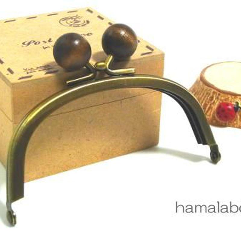 【HA-119】10cm/くし型(茶色の木玉×アンティークゴールド)