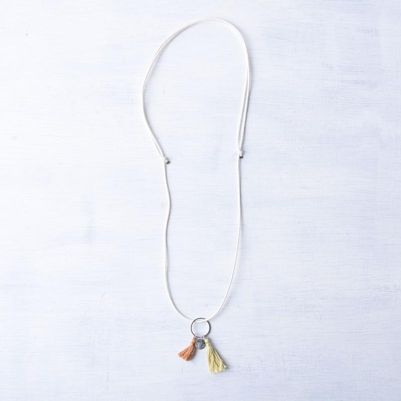 ダブルタッセルネックレス(レモン&キャメル) / Double Tassel Necklace  (Lemon&Camel) [SE171N16]