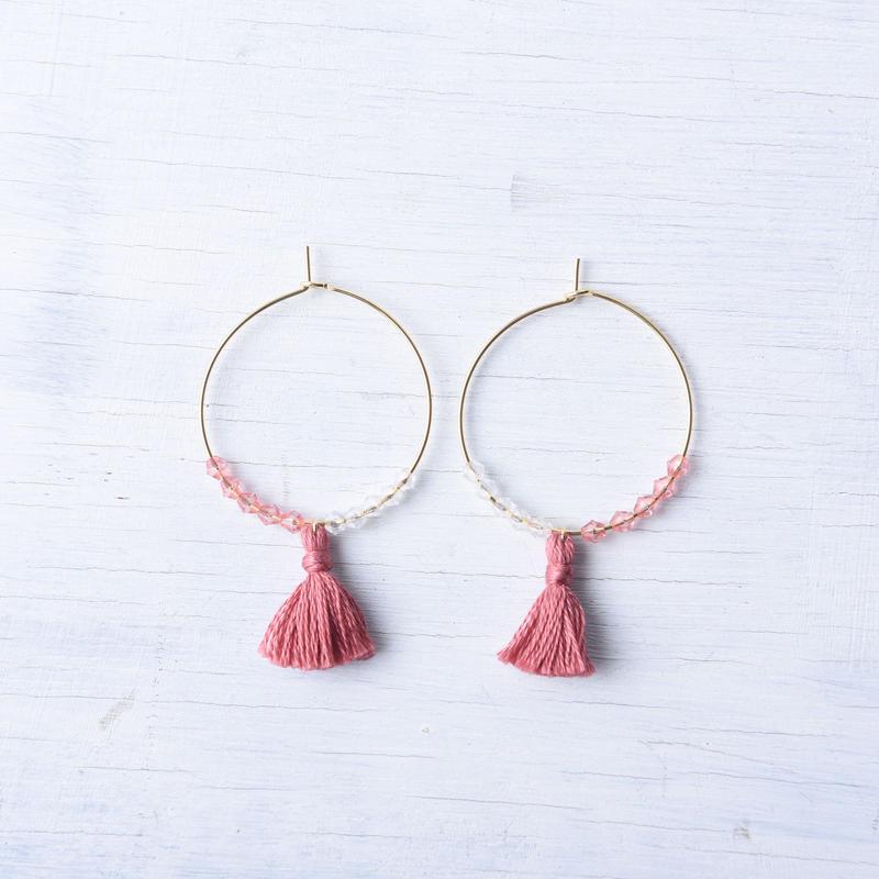 フープタッセルピアス(プラム)  /  Hoop Tassel Pierced Earring (Plum) [SE171P34]