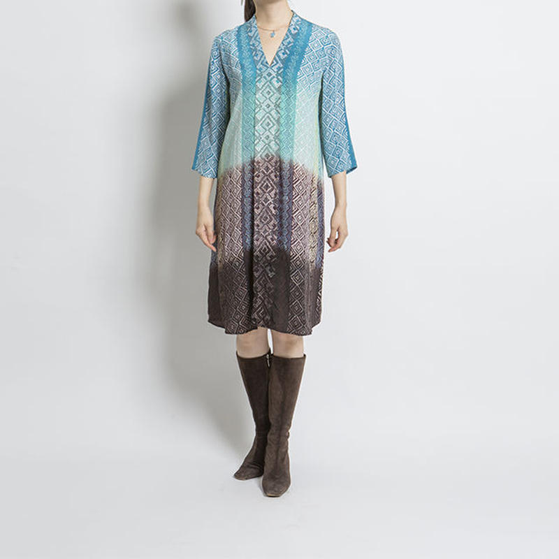 シルクワンピース Teal Aqua Brown Black Shaded Weven Stripes Bella Tunic