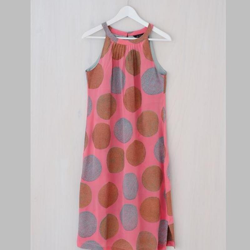 シルク ホルターネック ドレス Poppy ピンク ゴールド  RASA