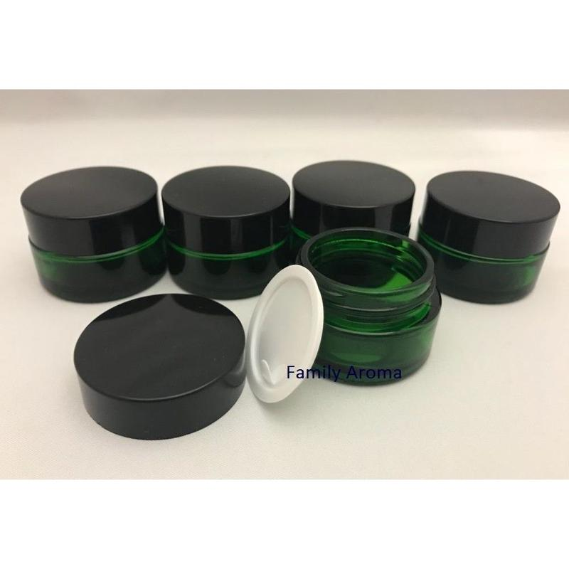 ガラスクリーム容器 20g(グリーン)5個セット