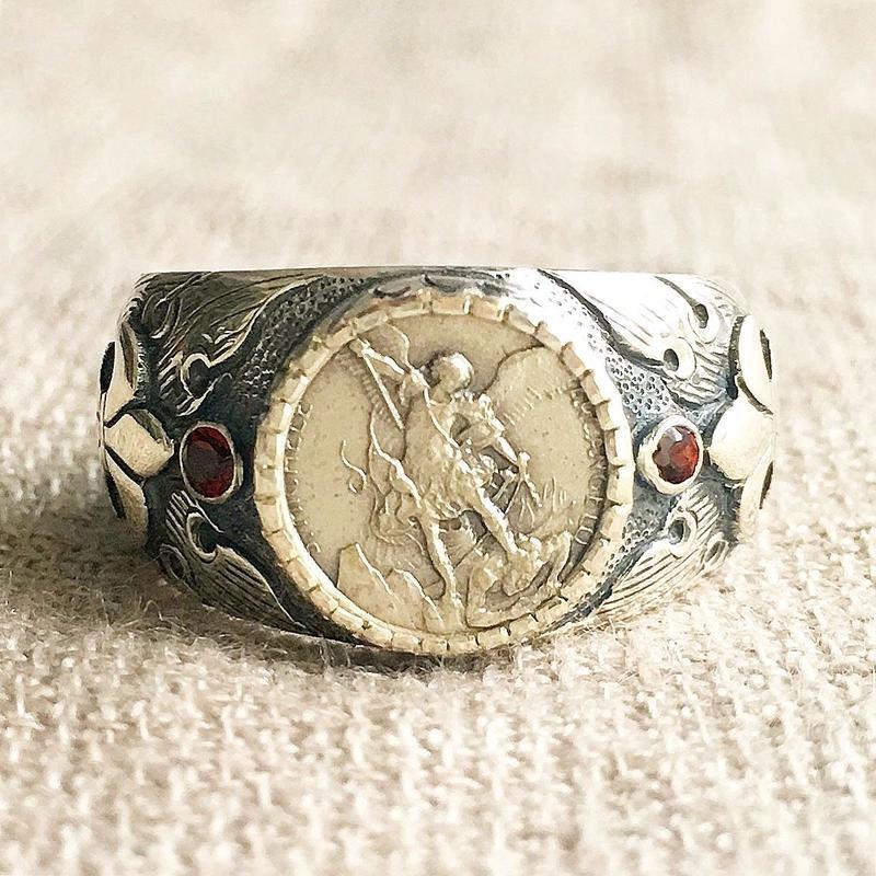 Michaelシルバーメダル&ガーネット シルバーリング FLAME(RMD1022)
