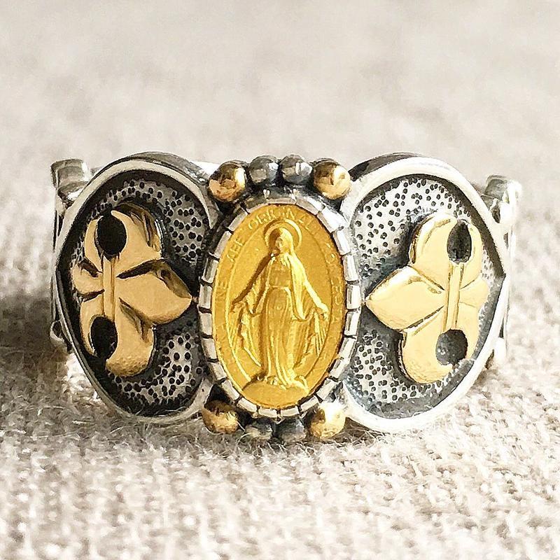 Maryゴールドメダル&ブルーサファイア シルバー&18Kゴールドリング SACRED HEART(RMD1010)