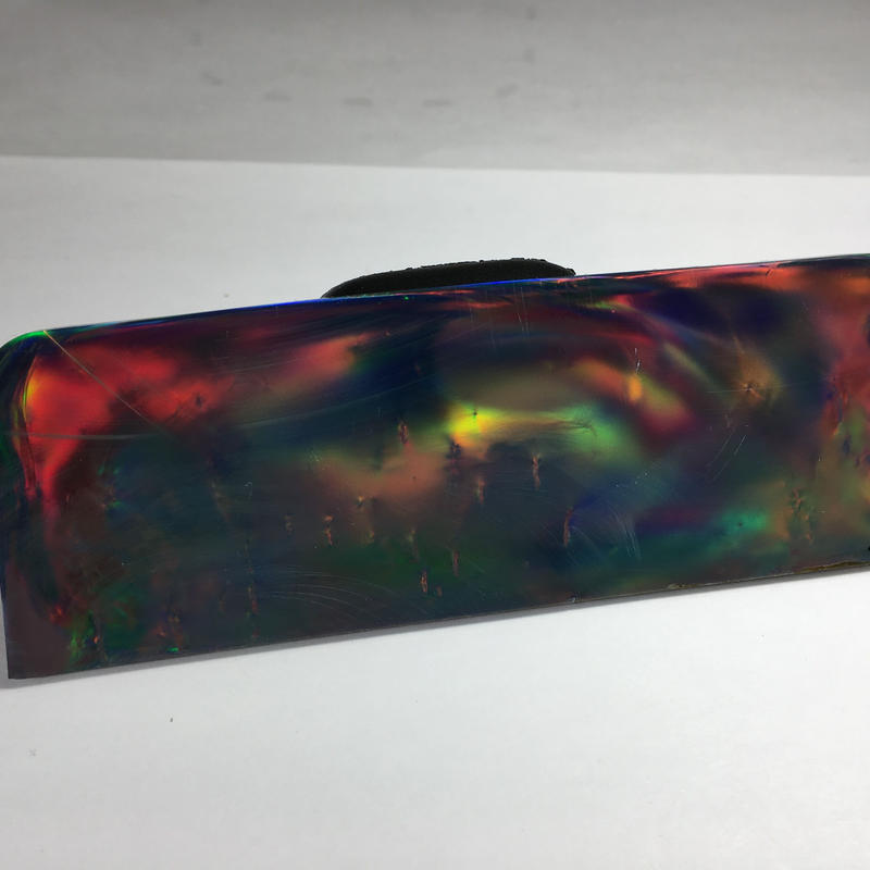 """Hybrid synthetic opal AURORA   """"Red fire black"""" No.3  Size : 114mm x 39mm x 3mm"""