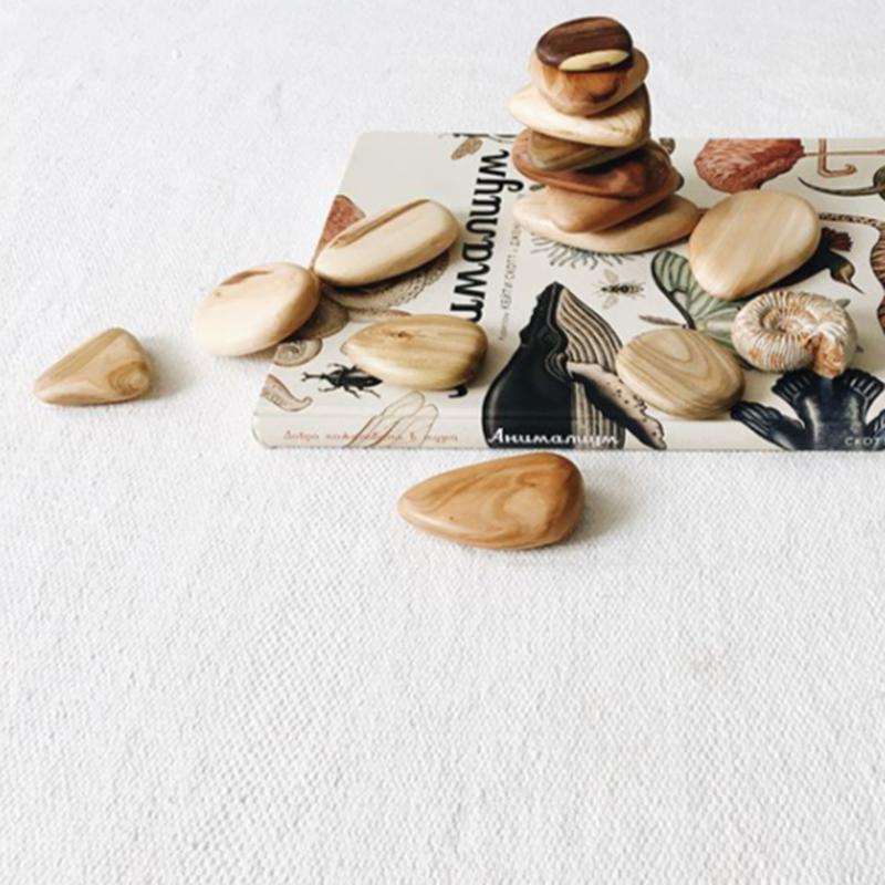 Balance Wooden Rocks Set (7pebbles) / mysoulmateplace