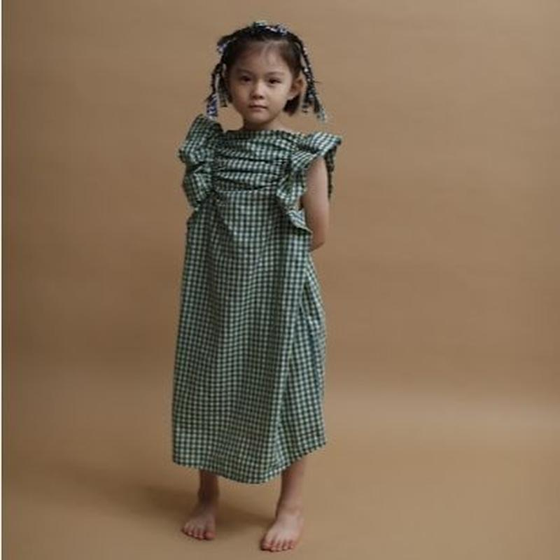 Angel check dress (pink x green) / folkmade