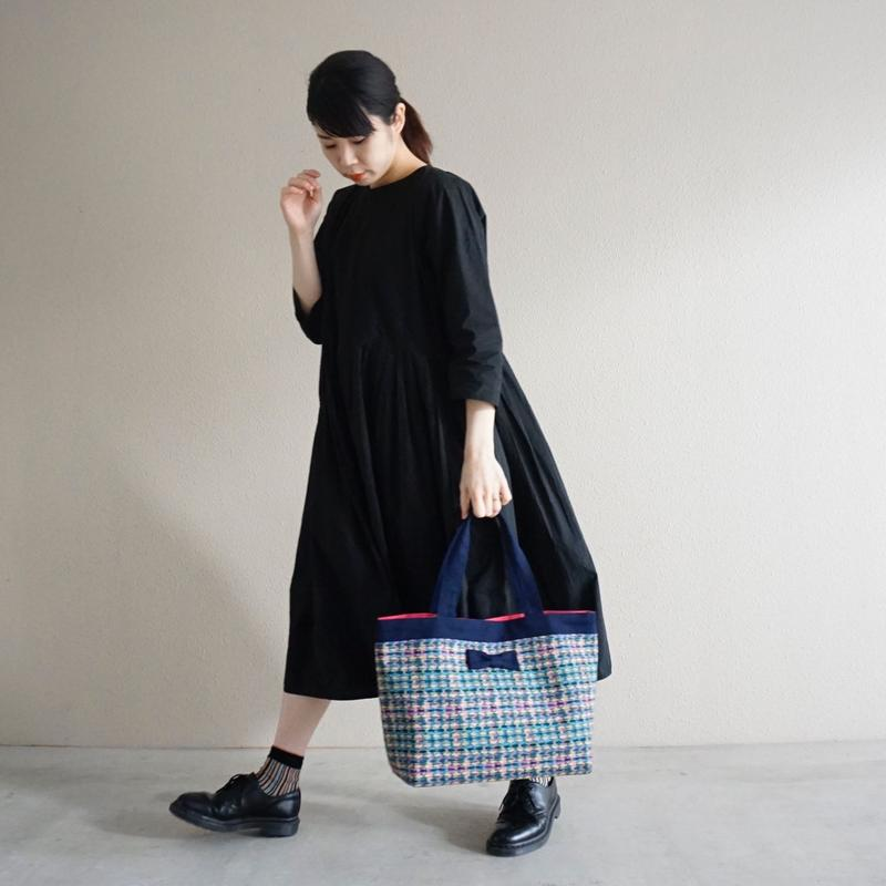 【新作】basic tote summer tweed navy blue