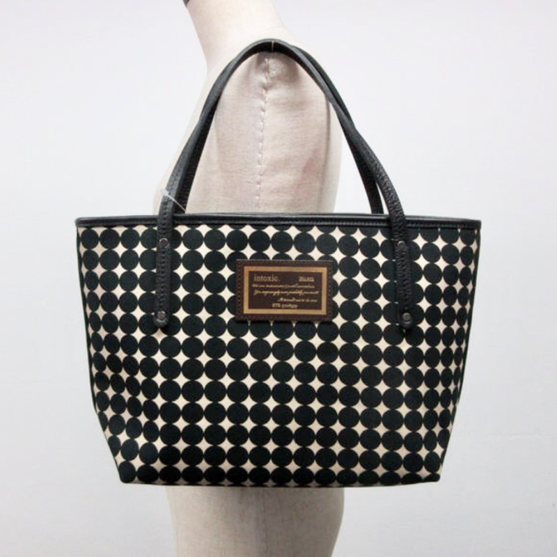 holiday tote small dots black