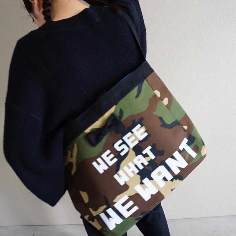 準備中 adjust strap tote comouflage logotip