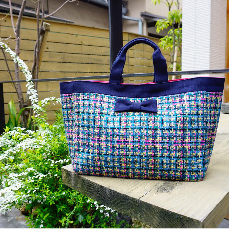 【新作】 town mini summer tweed navy blue