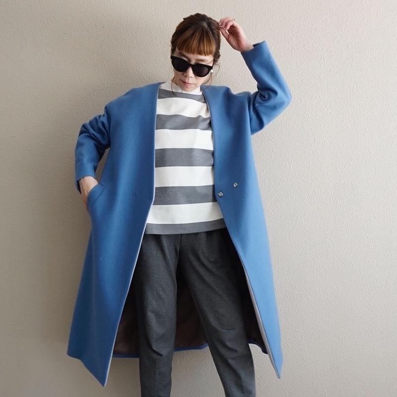 予約終了【先行予約】no collar coat saxe (2193204)