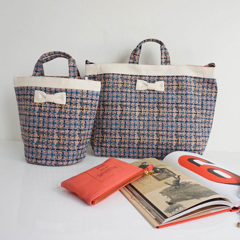 【新作】adjust strap tote summer tweed soft pink