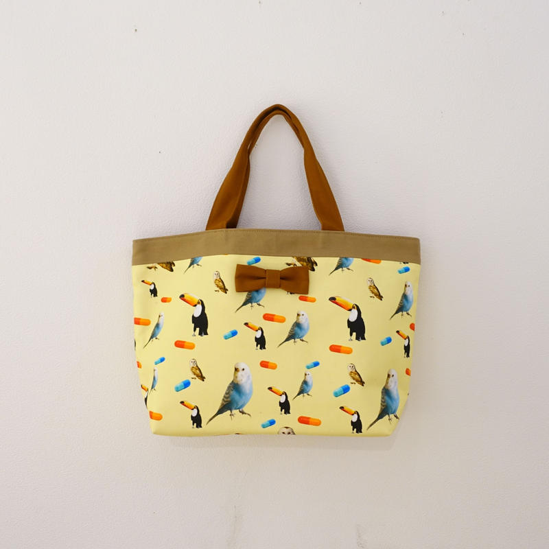【original textile】basic tote chemicalbirds yellow
