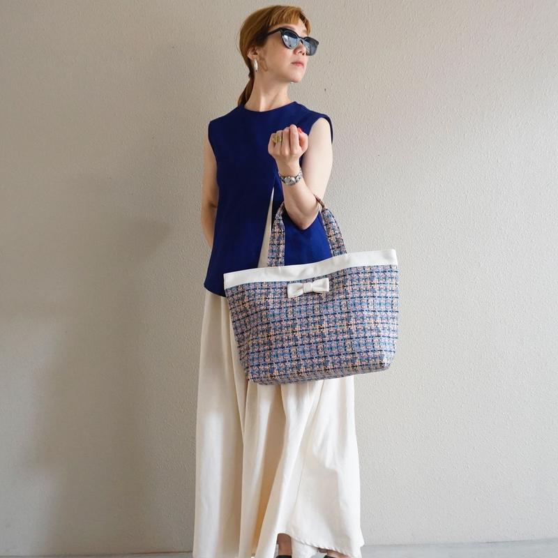 【新作】basic tote summer tweed soft pink
