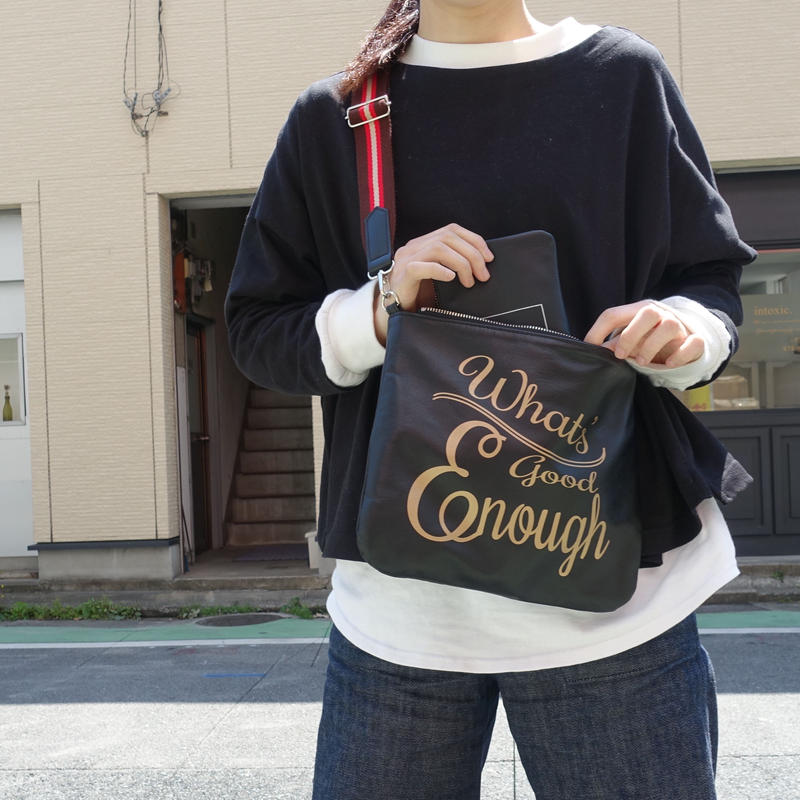【新作】lettering napa flat mini shoulder