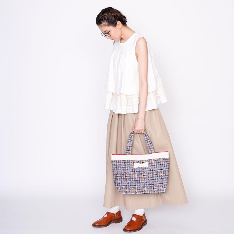 【新作】basic tote summer tweed softpink
