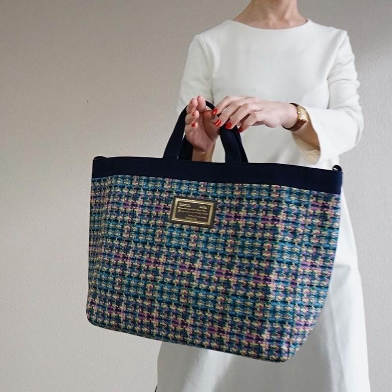 【新作】adjust strap tote summer tweed navy blue