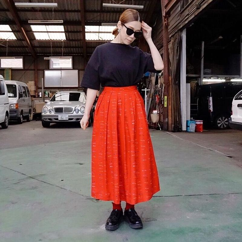 【予約終了】thomas magpie long skirt logo print red