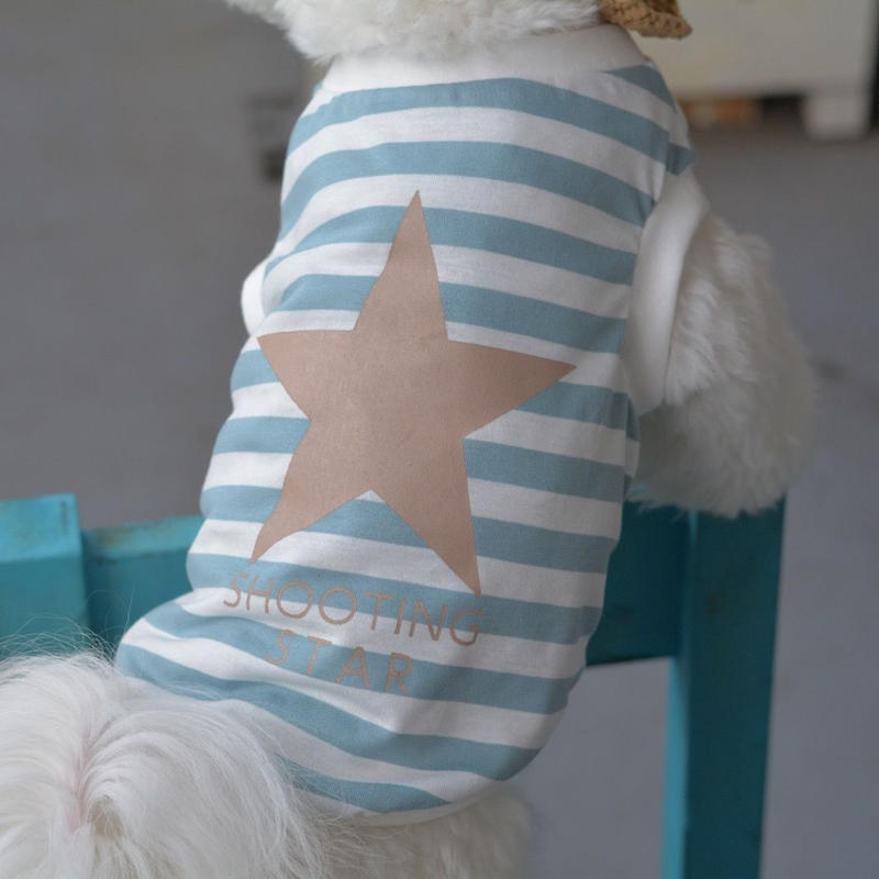 星 (ベージュ色)プリントボーダーシャツ