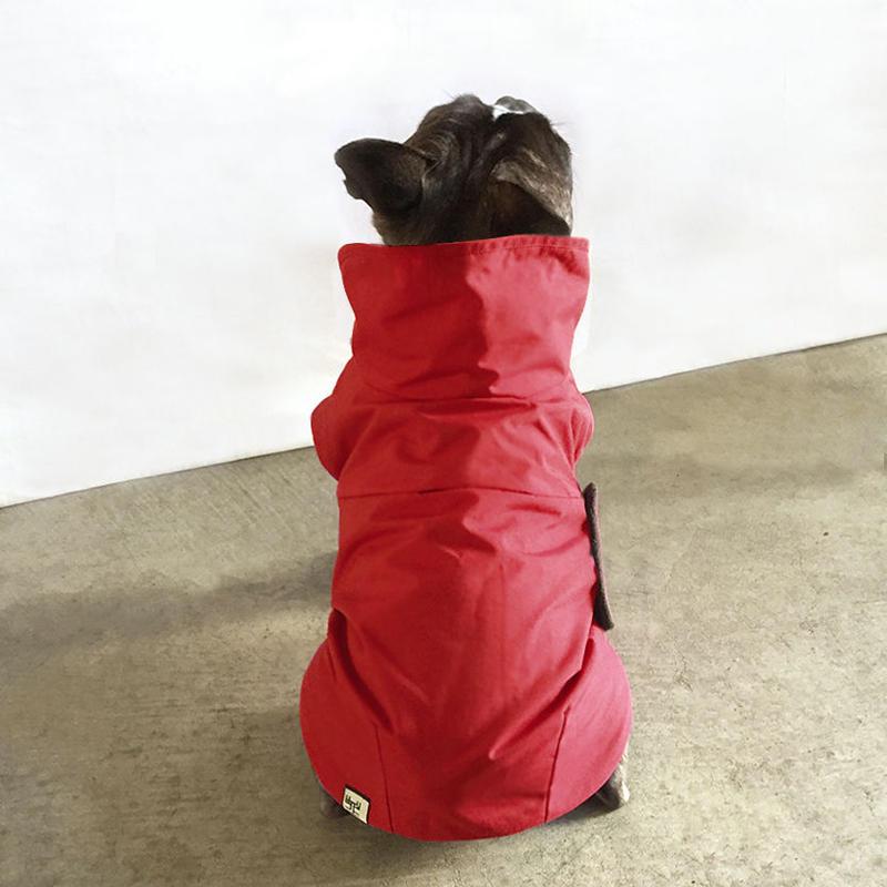 大きな丸衿のコート(赤紅色)/ High Collar Winter Coat  (Red)