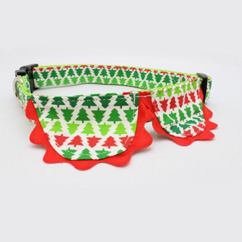 犬のクリスマスカラーの丸襟