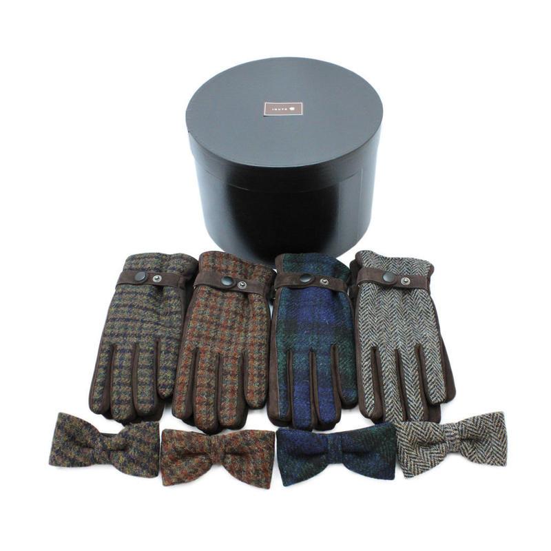 ドッグラバーな男性へのギフトボックス (ハリスツイードの紳士用手袋 1点 + 犬の蝶ネクタイ(Mサイズ) 1点、箱入)