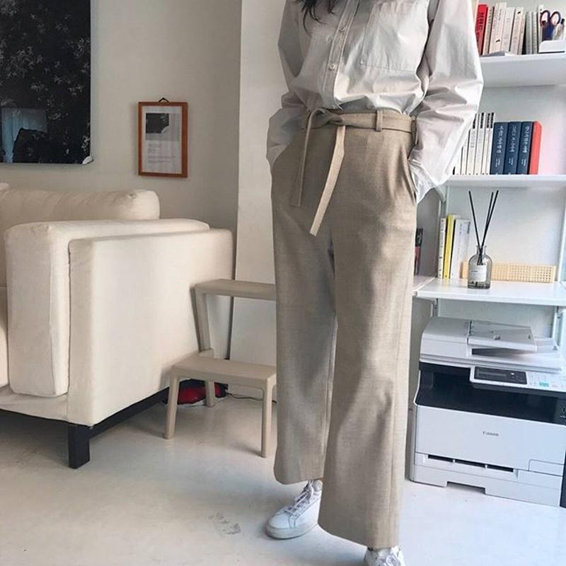 Wool belt pants