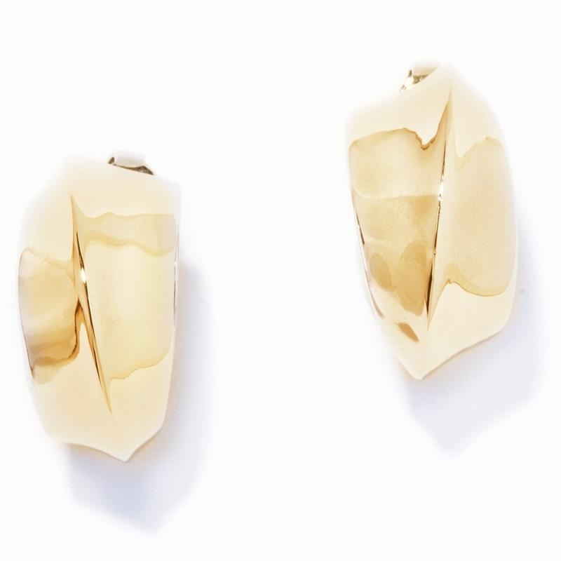puff earring / silver,gold