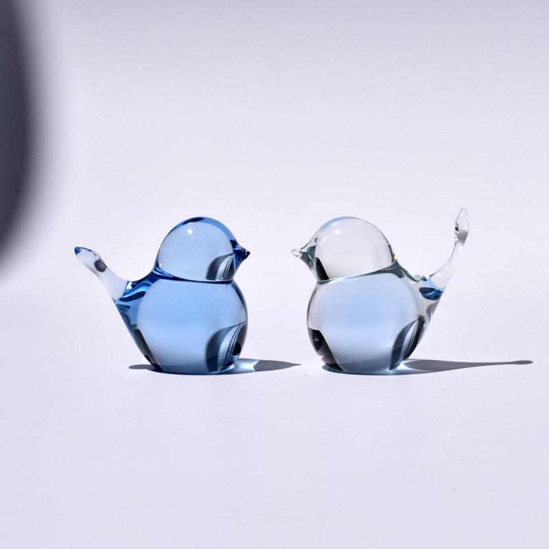 [予約販売]  幸せの蒼いとりさん 中 / Rie Glass Garden