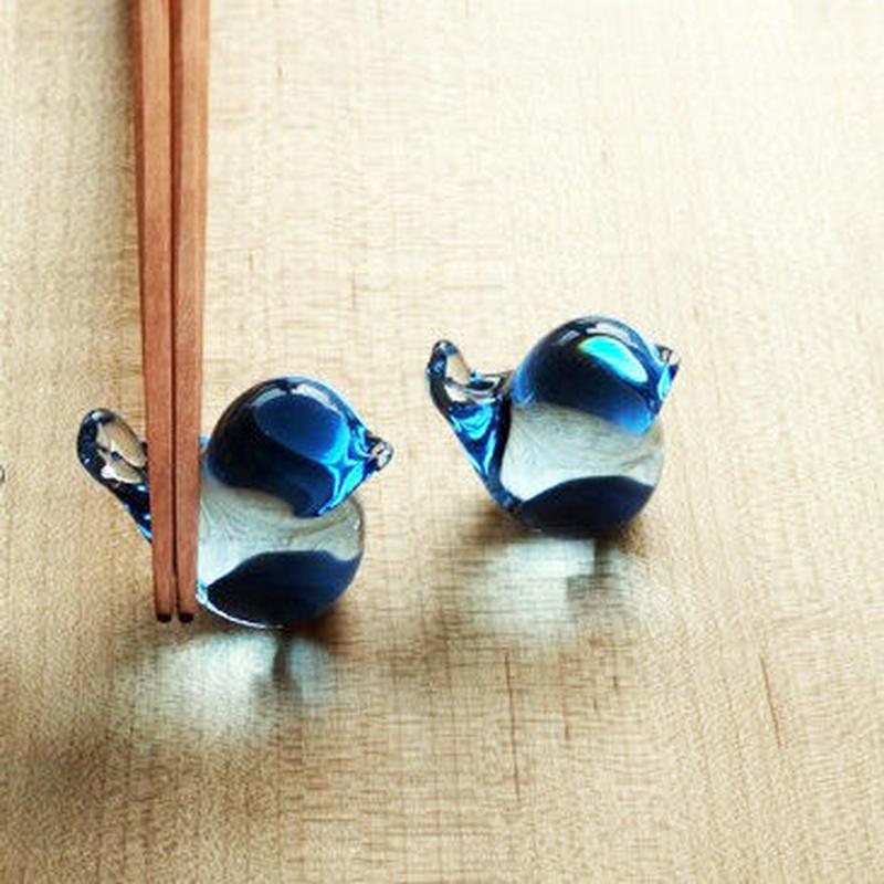 [予約販売]  幸せの蒼いとりさん 小 / Rie Glass Garden