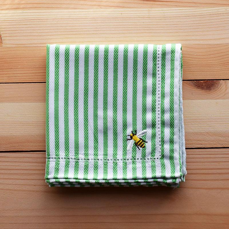コットン ハンカチ ストライプ ミツバチ刺繍