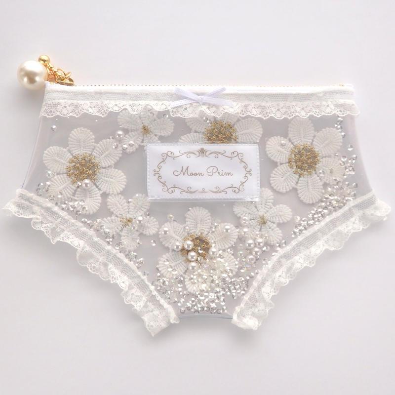 Flowerパンティークリアポーチ/ホワイト