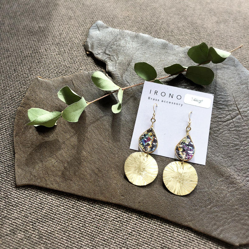stained glass × brass  swing ribbon ピアス / イヤリング