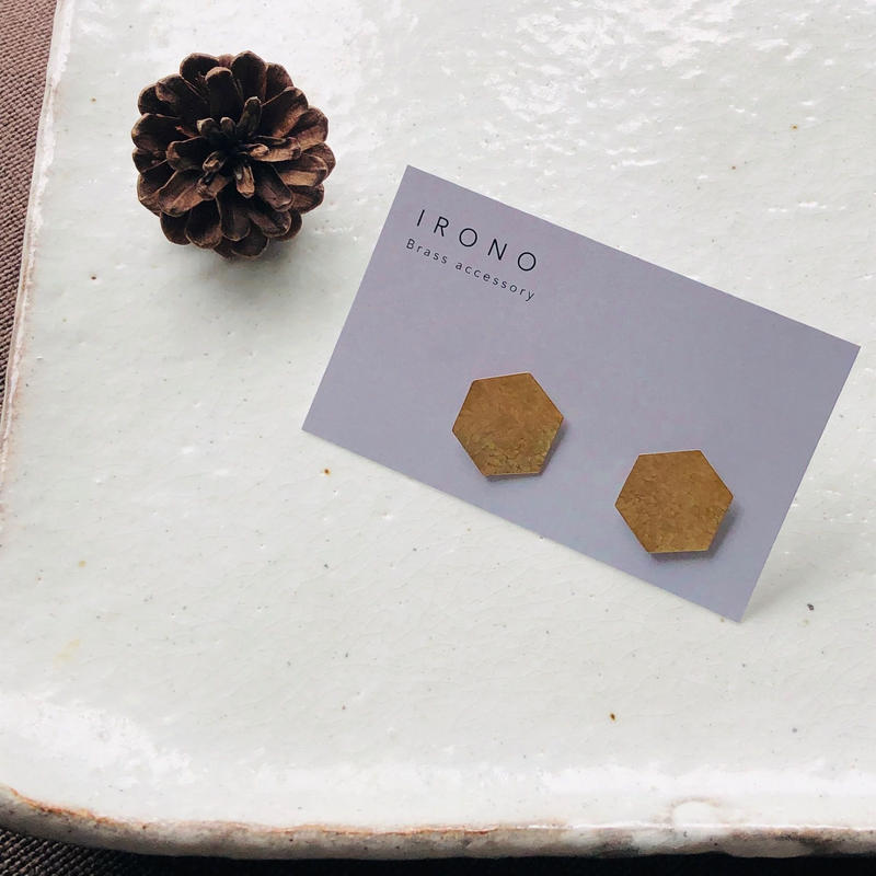 hexagon Brass / ピアス / イヤリング