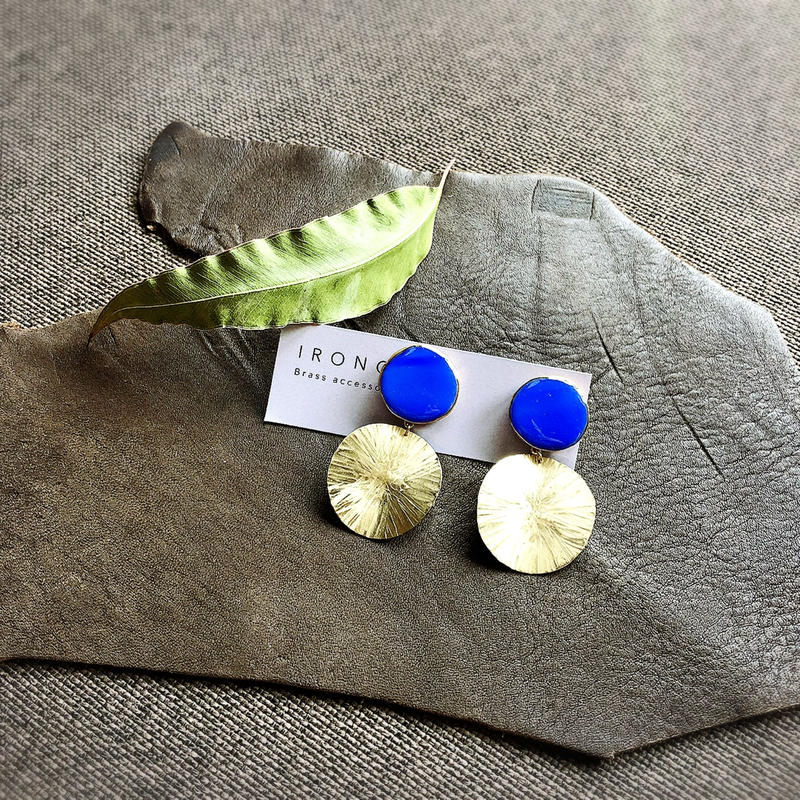 stained glass blue × brass  ピアス
