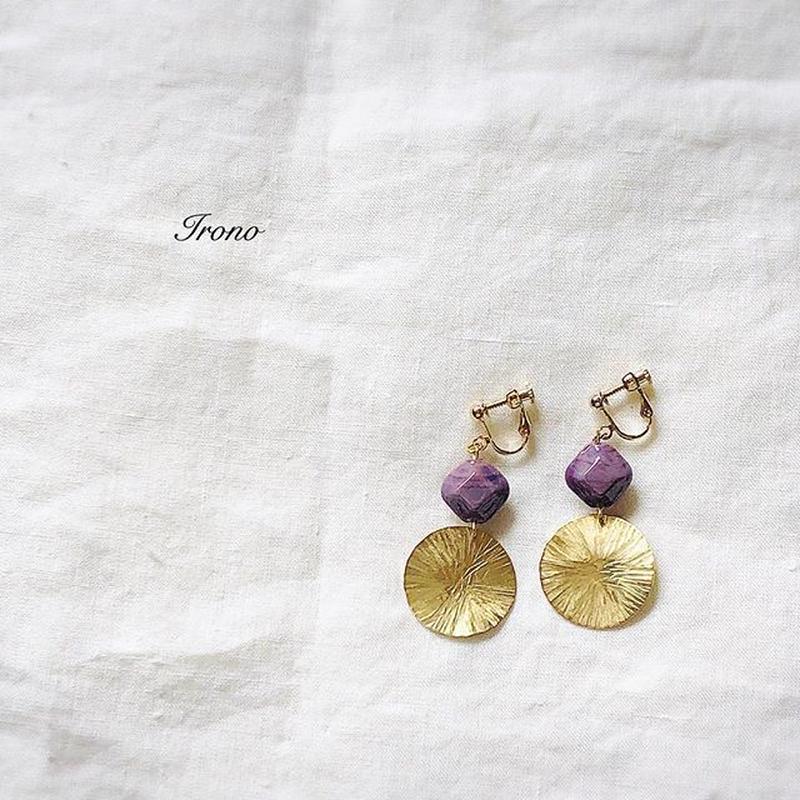 Italia glass purple square × sun brass  swing  ピアス / イヤリング