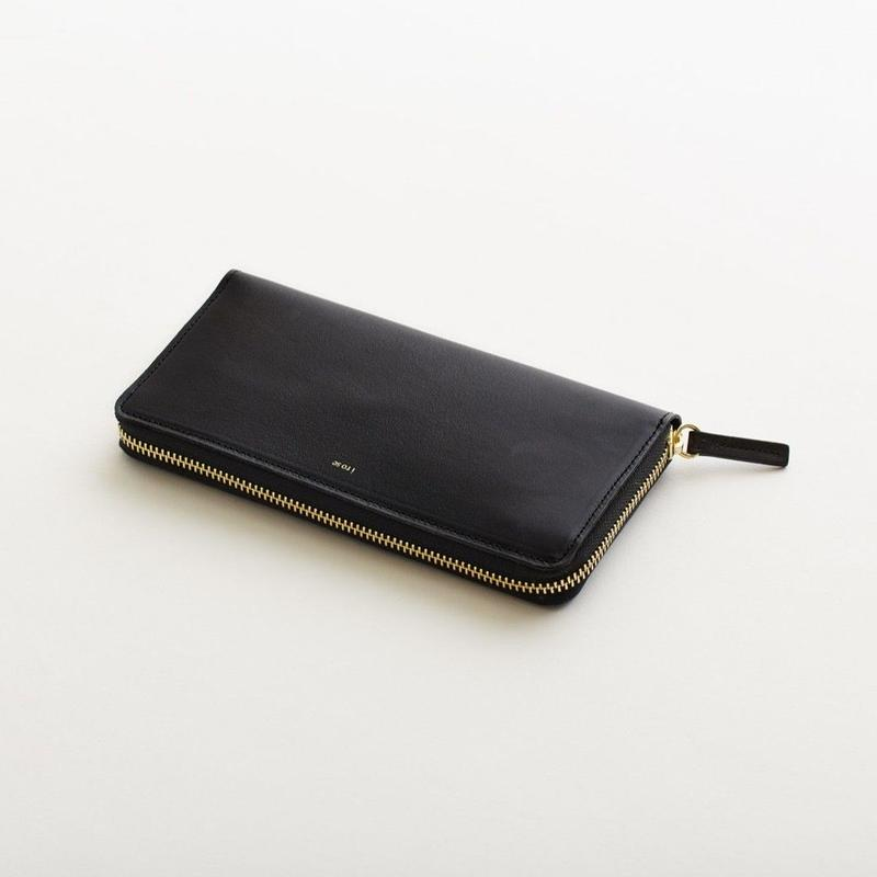 pop-up long wallet  (black / nude /  silver )