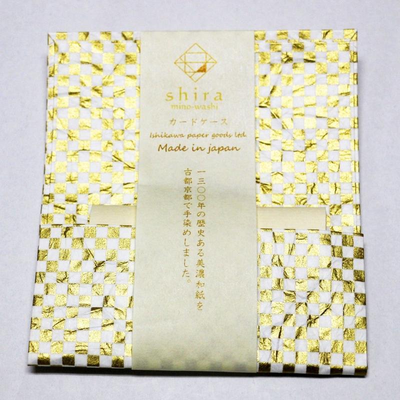和紙カードケース 白 <shira> 「格子」