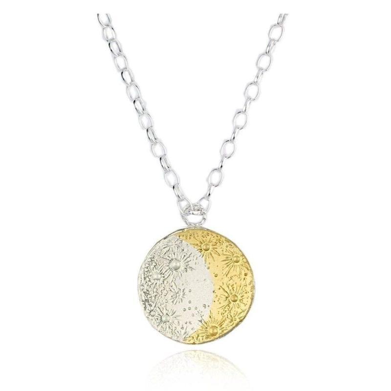 Large goldcrescent moon & sundisc choker silverx gold (ラージムーン&サン ディスク ネックレス シルバー×ゴールド)