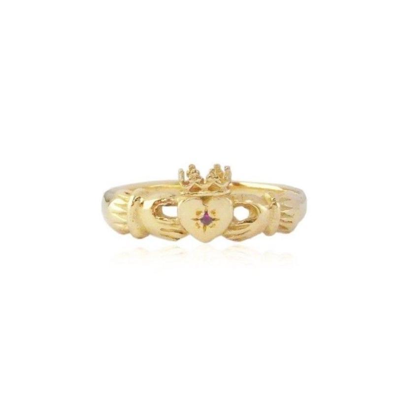CLADDAGH RING 22K GOLD VERMEIL /RUBY ( ゴールドクラダリング ルビー)