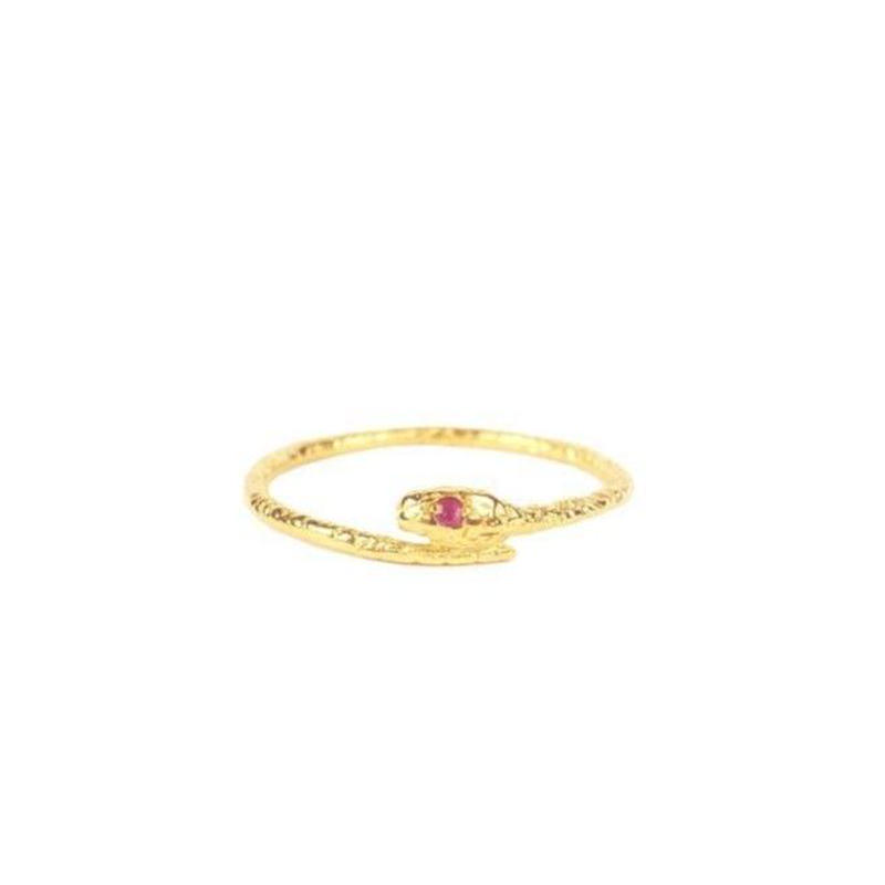 SNAKE RING22K GOLD VERMEIL/RUBY(ゴールドスネークリング ルビー)