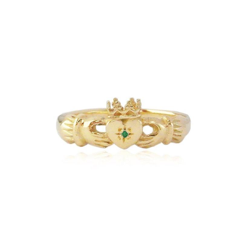 CLADDAGH RING 22K GOLD VERMEIL /EMERALD(ゴールドクラダリング エメラルド)