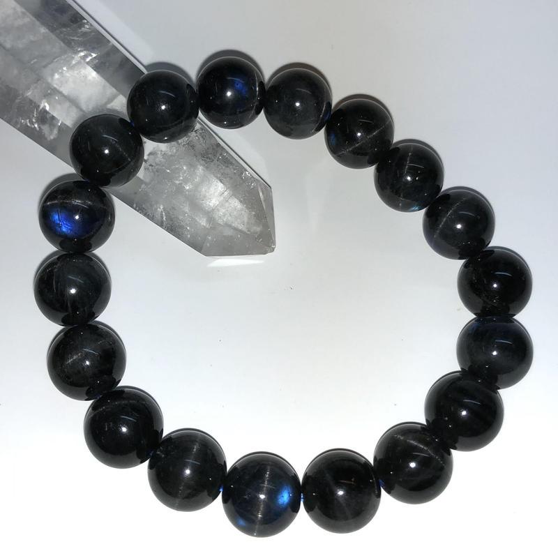 【レア!】キャッツアイブラックラブラドライト 12mm ブレス【インスピレーションをもたらす石】